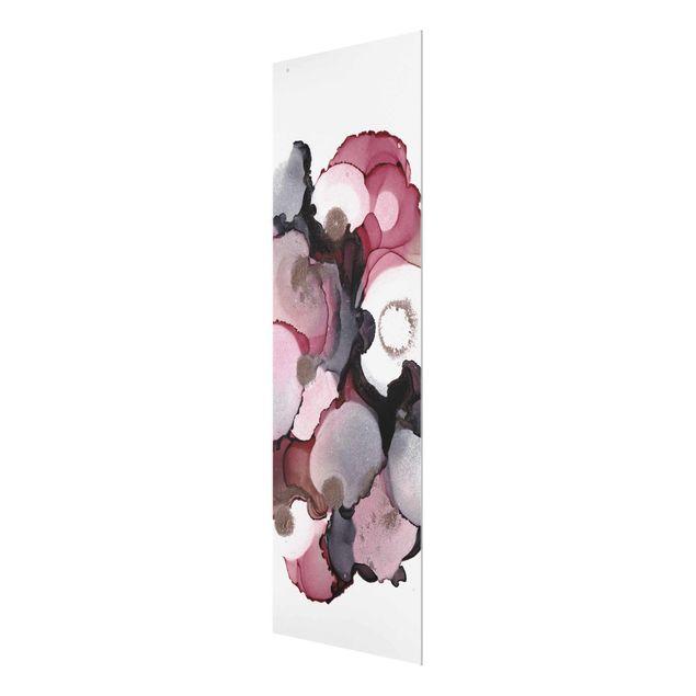 Glasbild - Pink-Beige Tropfen mit Roségold - Panel