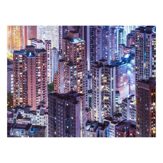 Glasbild - Hongkong Lichtermeer - Querformat 4:3