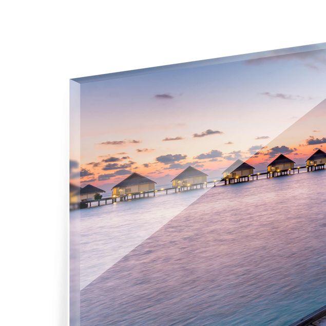 Glasbild - Sonnenuntergang im Paradies - Panorama