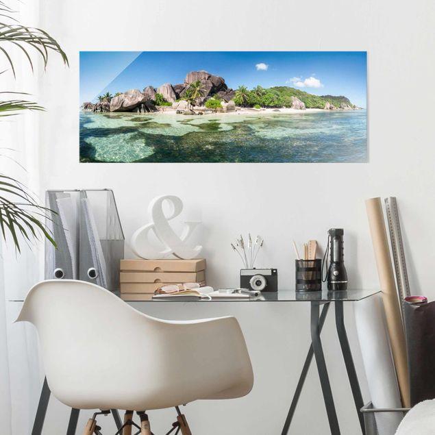 Glasbild - La Digue - Panorama