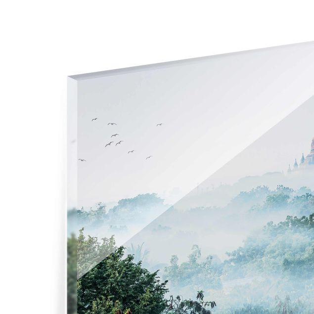 Glasbild - Morgennebel über dem Dschungel von Bagan - Querformat 4:3
