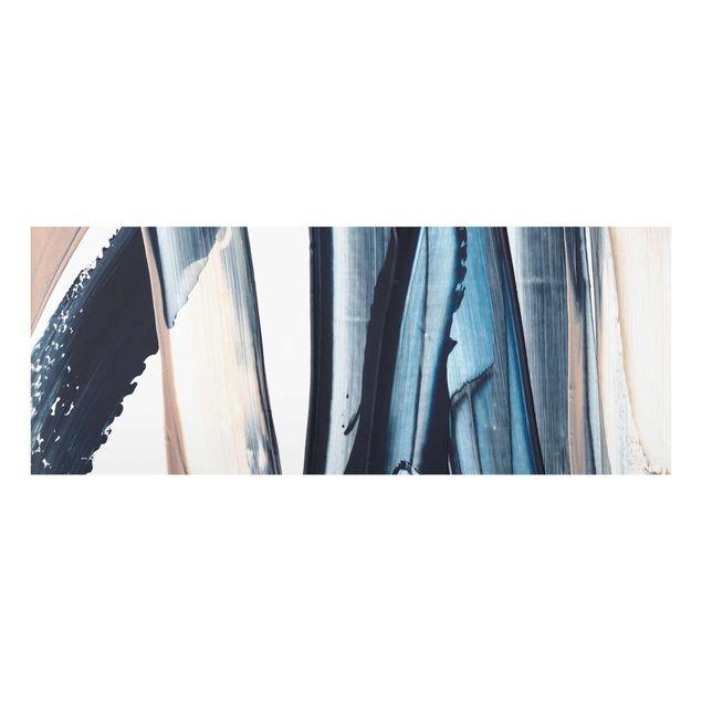 Glasbild - Blau und Beige Streifen - Panorama