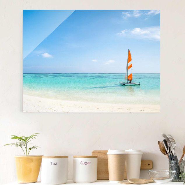 Glasbild - Katamaran auf dem Indischen Ozean - Querformat 4:3
