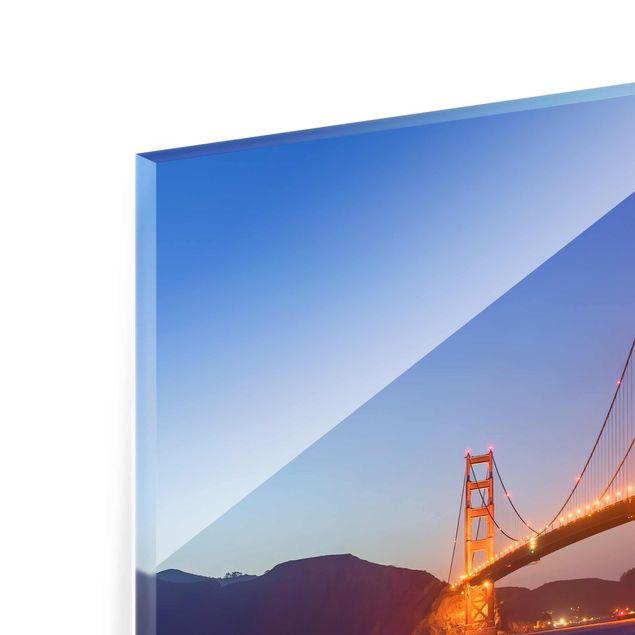 Glasbild - Golden Gate Bridge am Abend - Quadrat 1:1