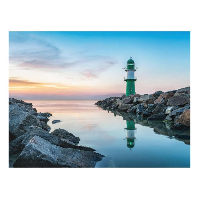 Glasbild - Sunset at the Lighthouse - Querformat 4:3