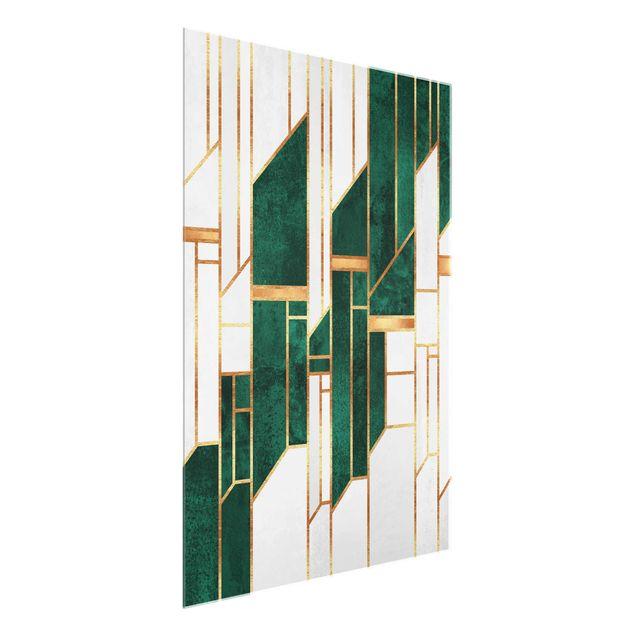 Glasbild - Elisabeth Fredriksson - Emerald und Gold Geometrie - Hochformat 3:4