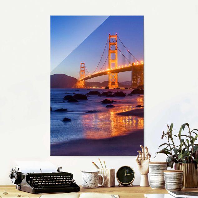 Glasbild - Golden Gate Bridge am Abend - Hochformat 2:3
