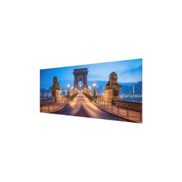 Glasbild - Kettenbrücke in Budapest bei Nacht - Panorama