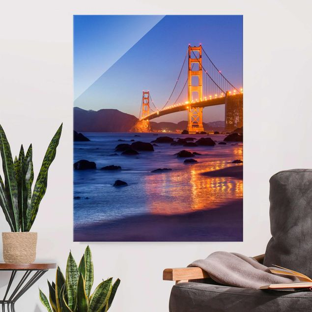 Glasbild - Golden Gate Bridge am Abend - Hochformat 3:4