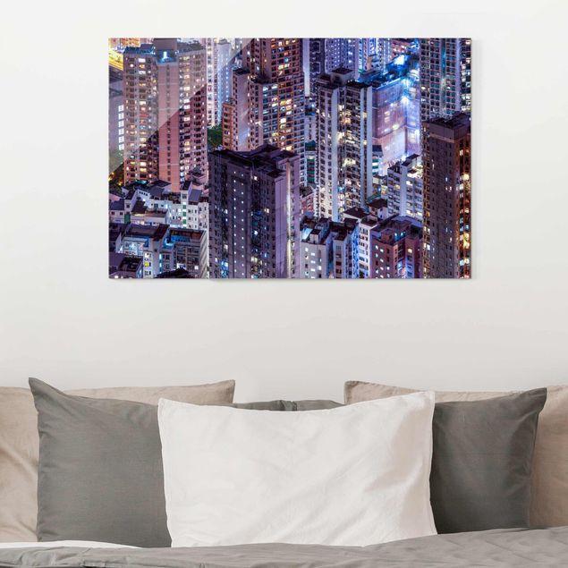 Glasbild - Hongkong Lichtermeer - Querformat 3:2