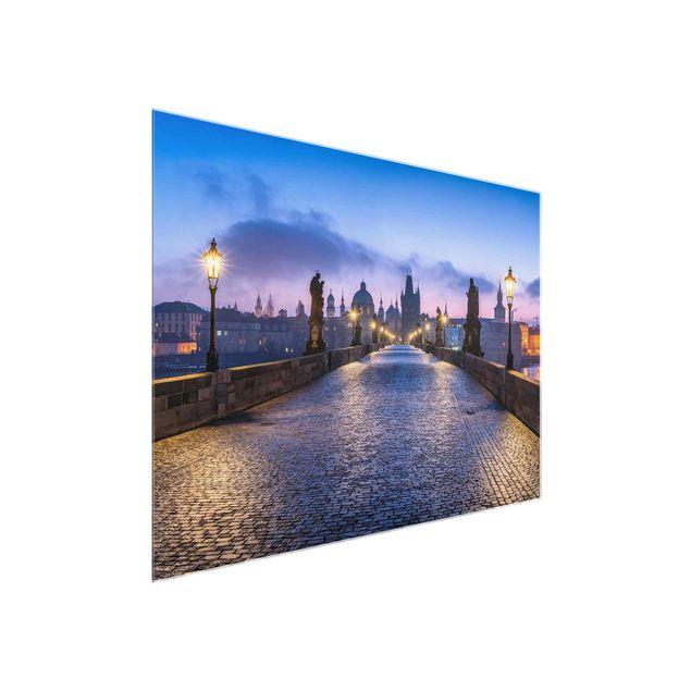 Glasbild - Karlsbrücke in Prag - Querformat 4:3