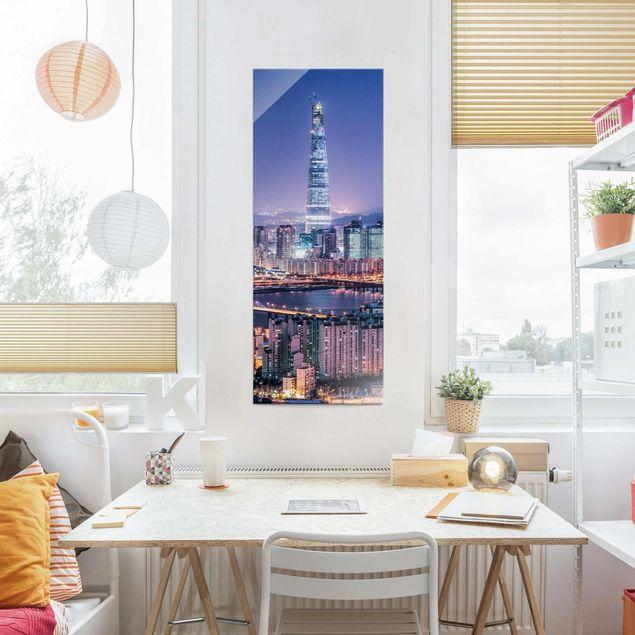 Glasbild - Lotte World Tower bei Nacht - Panel