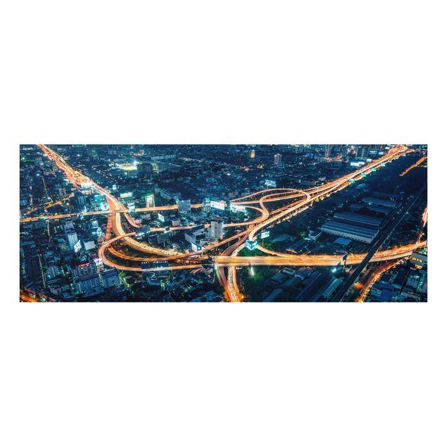 Glasbild - Eine Nacht in Bangkok - Panorama