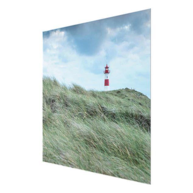 Glasbild - Stürmische Zeiten am Leuchtturm - Quadrat 1:1