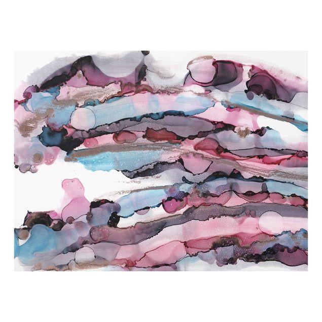 Glasbild - Wellenreiten in Violett mit Roségold - Querformat 4:3