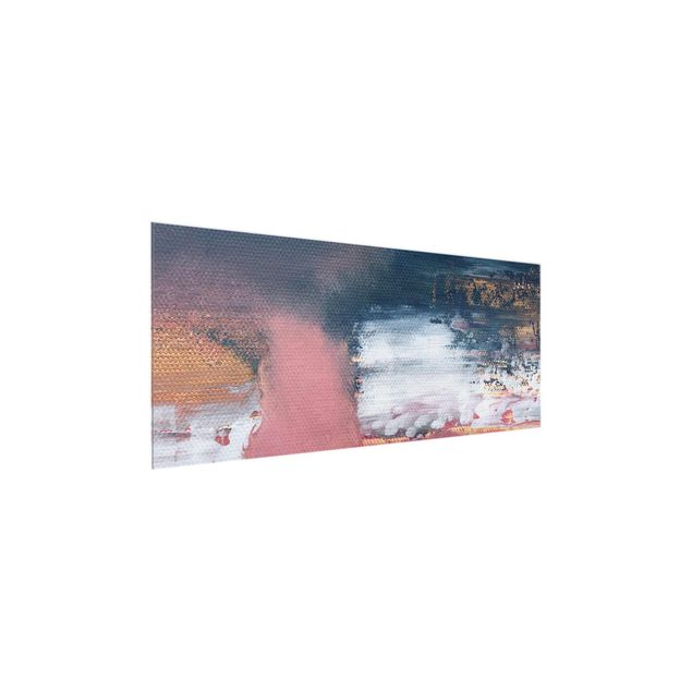 Glasbild - Elisabeth Fredriksson - Rosa Sturm mit Gold - Panorama