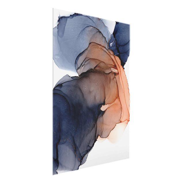 Glasbild - Ozeantropfen Blau-Orange mit Gold - Hochformat 3:4