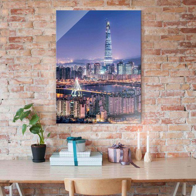 Glasbild - Lotte World Tower bei Nacht - Hochformat 3:4