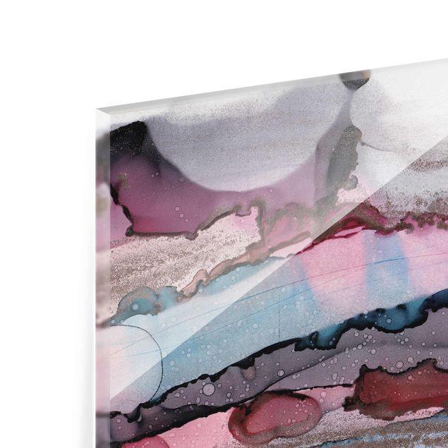 Glasbild - Wellenreiten in Violett mit Roségold - Hochformat 3:4