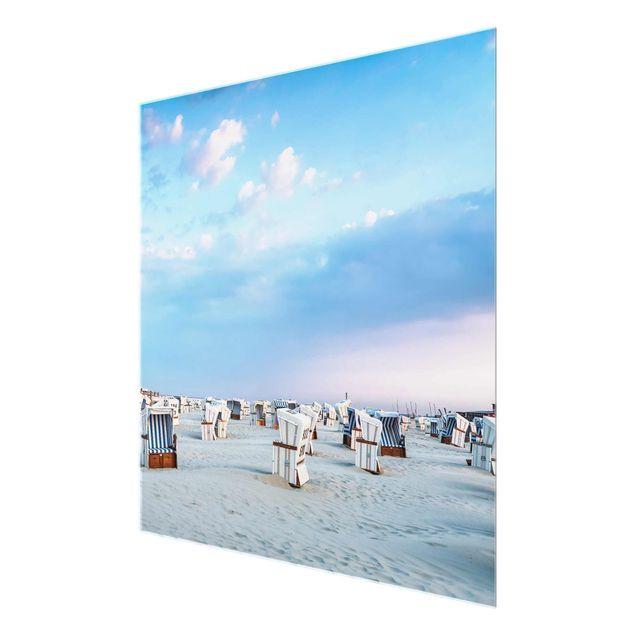 Glasbild - Strandkörbe an der Nordsee - Quadrat 1:1