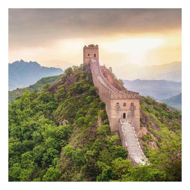 Glasbild - Die unendliche Mauer von China - Quadrat 1:1