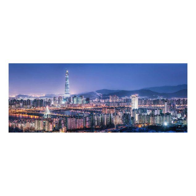 Glasbild - Lotte World Tower bei Nacht - Panorama