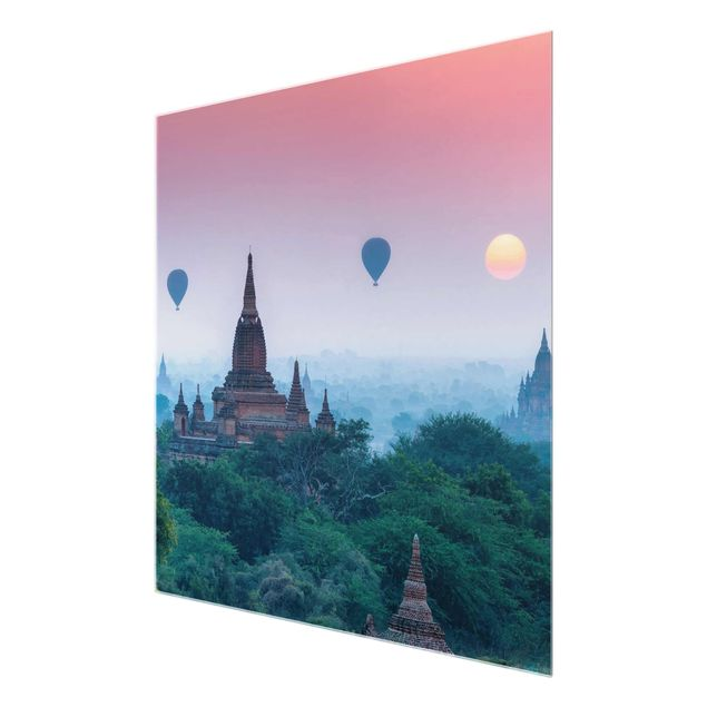 Glasbild - Heißluftballons über Tempelanlage - Quadrat 1:1