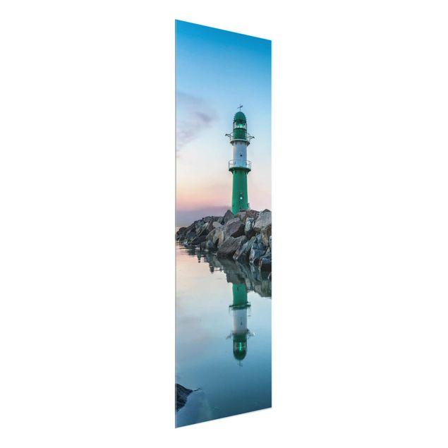 Glasbild - Sunset at the Lighthouse - Panel