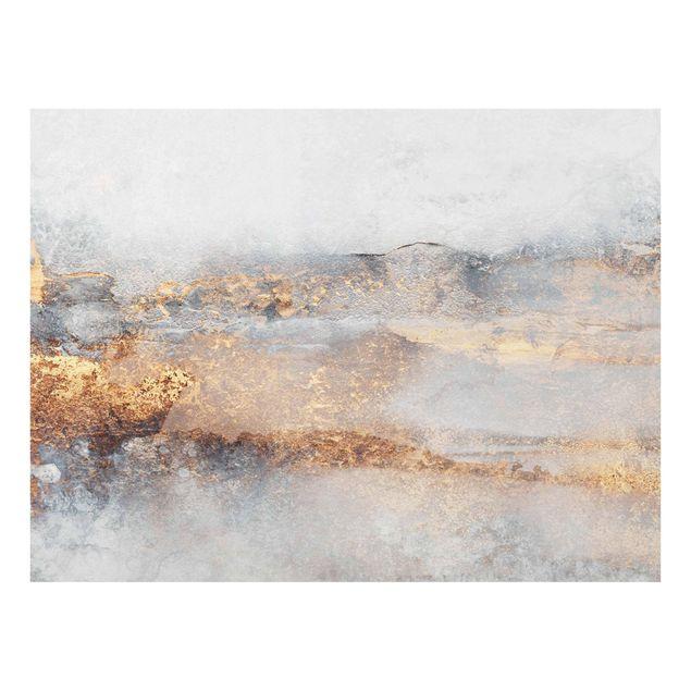 Glasbild - Elisabeth Fredriksson - Gold-Grauer Nebel - Querformat 4:3