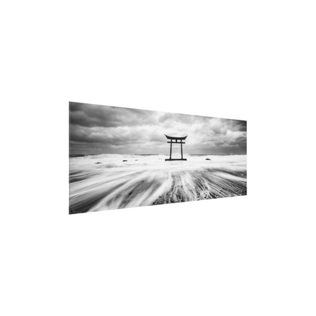 Glasbild - Japanisches Torii im Meer - Panorama