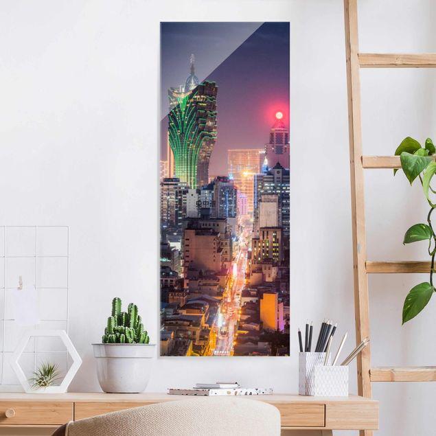 Glasbild - Nachtlichter von Macau - Panel