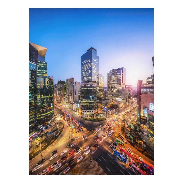Glasbild - Stadtlichter von Gangnam - Hochformat 3:4