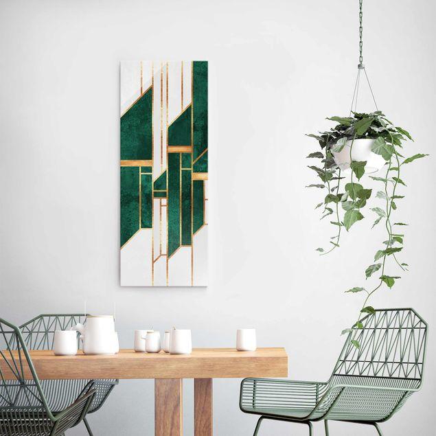Glasbild - Elisabeth Fredriksson - Emerald und Gold Geometrie - Panel
