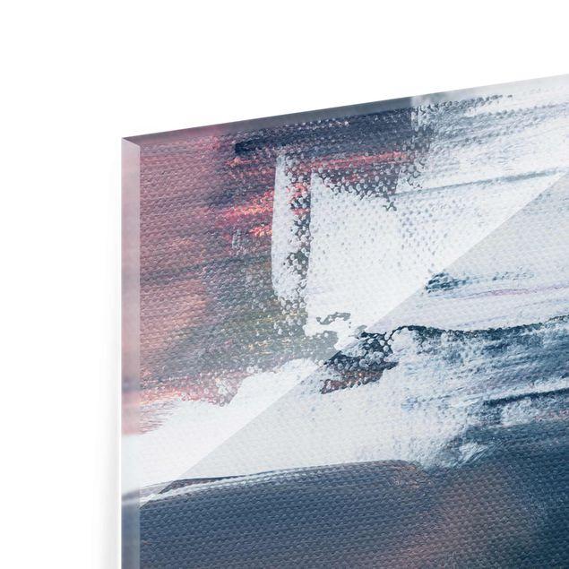 Glasbild - Elisabeth Fredriksson - Rosa Sturm mit Gold - Hochformat 3:4