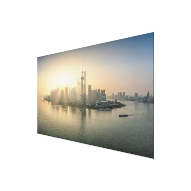 Glasbild - Pudong bei Sonnenaufgang - Querformat 3:2