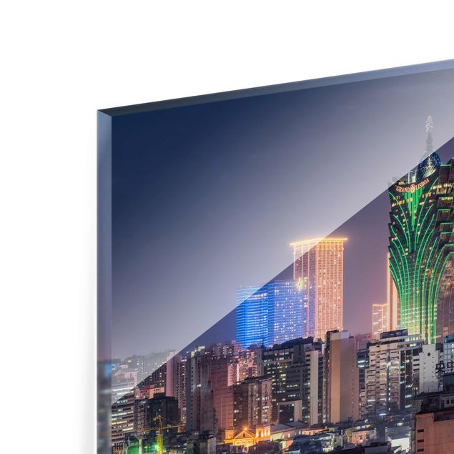 Glasbild - Nachtlichter von Macau - Querformat 4:3