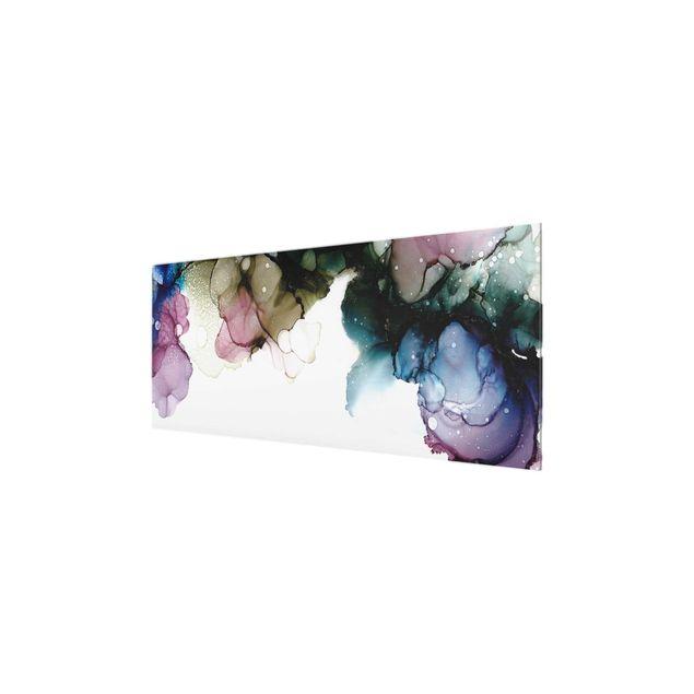 Glasbild - Blumenbogen mit Gold - Panorama