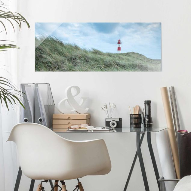 Glasbild - Stürmische Zeiten am Leuchtturm - Panorama