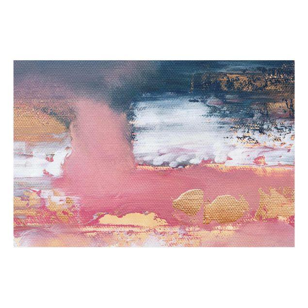 Glasbild - Elisabeth Fredriksson - Rosa Sturm mit Gold - Querformat 3:2