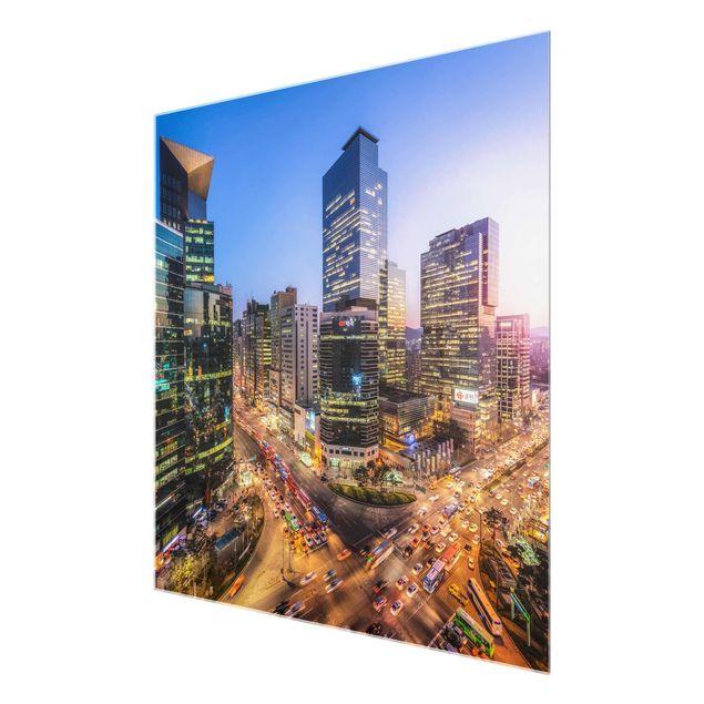 Glasbild - Stadtlichter von Gangnam - Quadrat 1:1