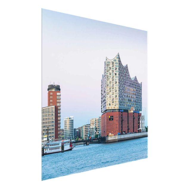 Glasbild - Elbphilharmonie Hamburg - Quadrat 1:1