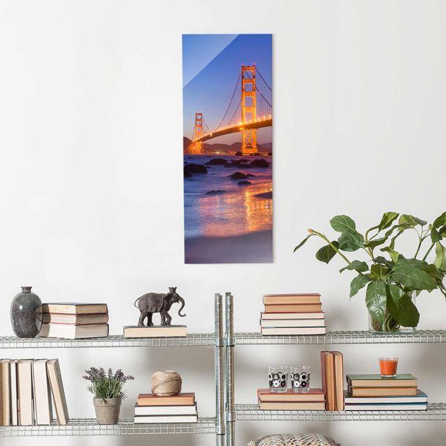 Glasbild - Golden Gate Bridge am Abend - Panel