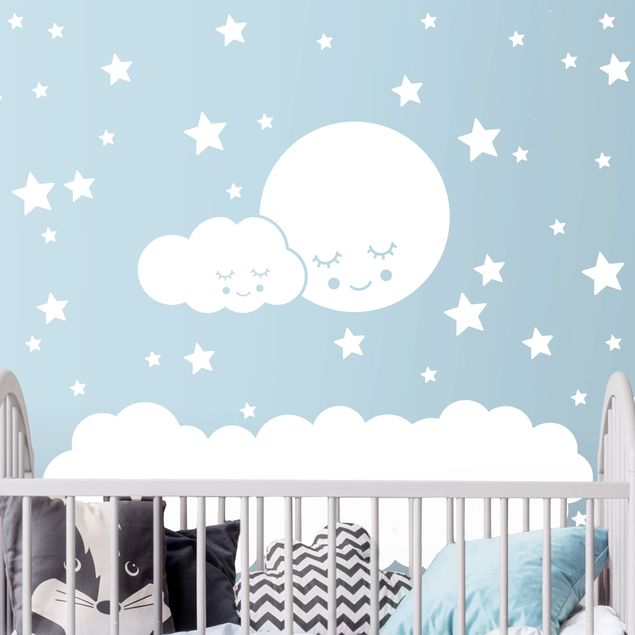 Einfarbiges Wandtattoo - Mond Wolke und Sterne