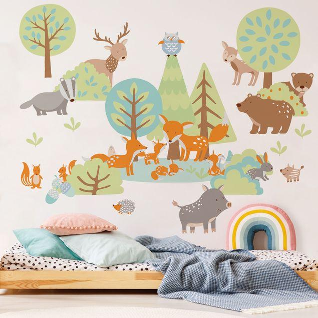 Mehrfarbiges Wandtattoo - Tierfamilien Mega-Set mit Füchsen und Bäumen