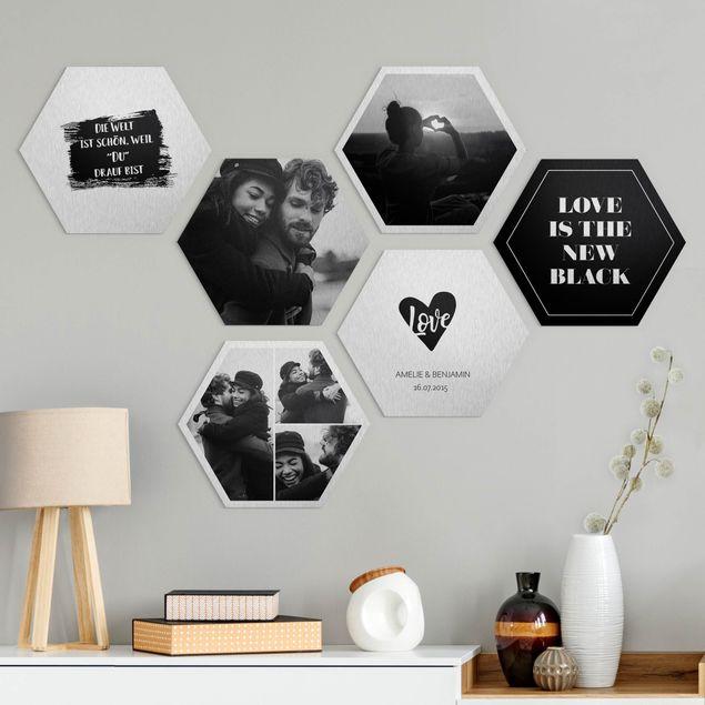 6-teiliges Hexagon Bild Alu-Dibond gebürstet selbst gestalten