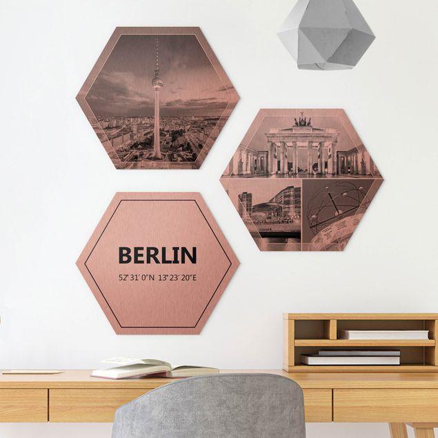 3-teiliges Hexagon Bild Alu-Dibond gebürstet Kupfer selbst gestalten