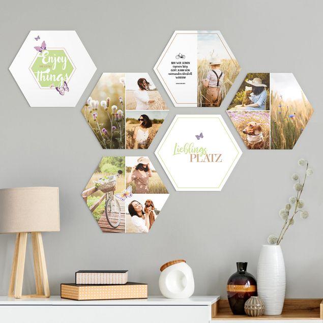 6-teiliges Hexagon Bild Alu-Dibond seidenmatt selbst gestalten