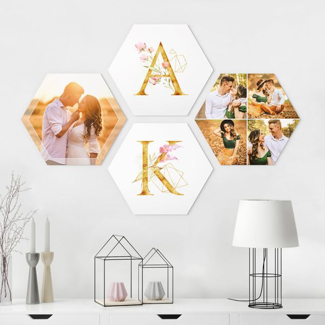 4-teiliges Hexagon Bild Alu-Dibond seidenmatt selbst gestalten