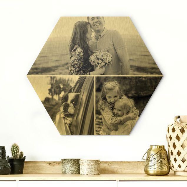 Hexagon Bild Alu-Dibond gebürstet Gold selbst gestalten