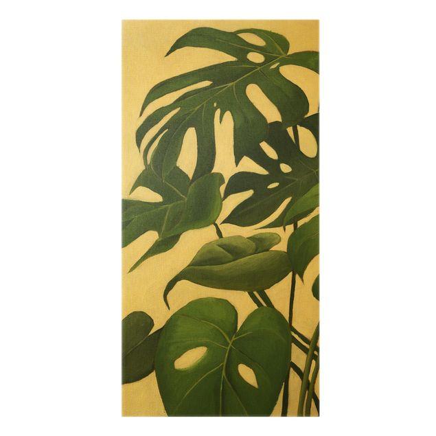 Leinwandbild Gold - Lieblingspflanzen - Monstera - Hochformat 1:2